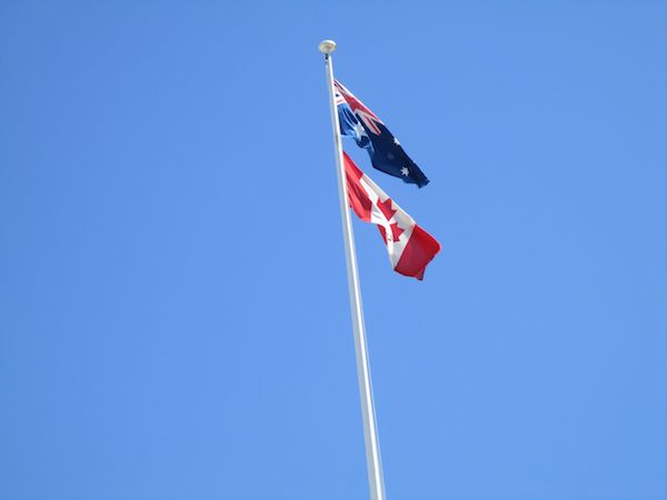 Canadian flag flying over Yalumba